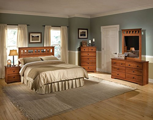 Cambridge 98108A5Q1-LC Seasons Five Piece Suite: Queen Bed, Dresser, Mirror, Chest, Nightstand Bedroom Sets Indoor Furniture, Brown Cambridge 5 Drawer Chest