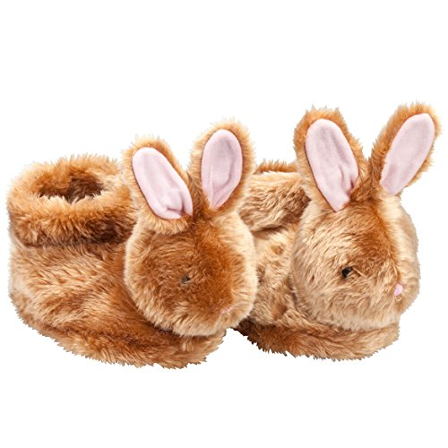 Brown Plush Easter Bunny Children's Slippers - Full Coverage, Soft Insoles, Non-Slip Gripper Bottoms - Large
