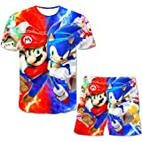 3D Printed so-nic Summer Boy and Girl Suit T-Shirt and Shorts Suit