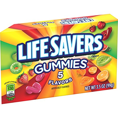 Life Savers 5 Flavors Gummies Candy Theater Box, 3.5 ounce (12 Single -