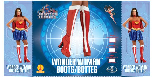 Wonder Woman Officially Licensed Costume Boots, Red, Large