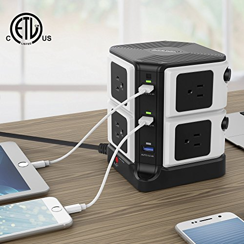 BESTEK USB Power Strip 8-Outlet Surge Protector 1500 Joules with 40W/8A 6 USB Charging Station,ETL Listed,Dorm Room Accessories by BESTEK (Image #5)