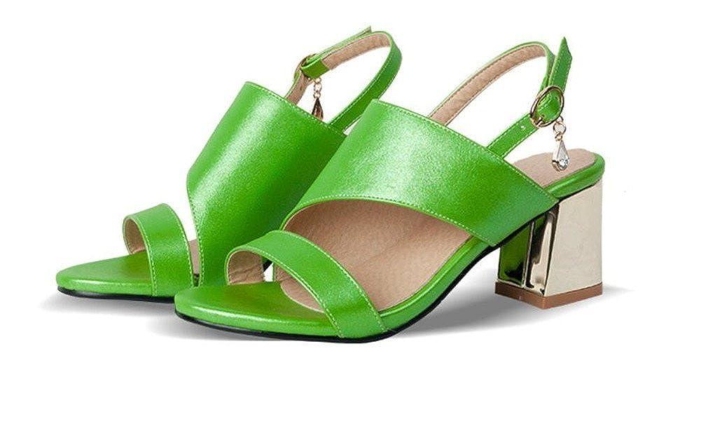 WEIQI-Sandaletten der der der Sommerdame Runde Zehe Frisches Grün Partei Einkaufen 6cm 32-42 eb9342