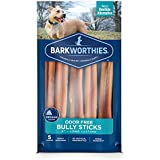 Barkworthies Odor-Free 6-inch Bully Sticks (5 Pack) - Healthy Dog Chews - Protein-Packed, Highly Digestible, All-Natural Rawhide Alternative Dog Treats - Promotes Dental Health