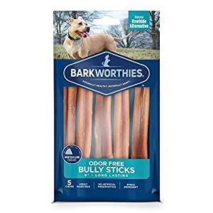 Barkworthies Odor-Free 6-inch Bully Sticks (5 Pack) – Healthy Dog Chews – Protein-Packed, Highly Digestible, All-Natural Rawhide Alternative Dog Treats – Promotes Dental Health