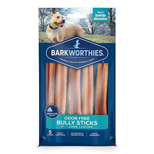 Barkworthies Odor-Free 6-inch Bully Sticks (5 Pack) - Healthy Dog Chews - Protein-Packed, Highly Digestible, All-Natural Rawhide Alternative Dog Treats - Promotes Dental Health ()