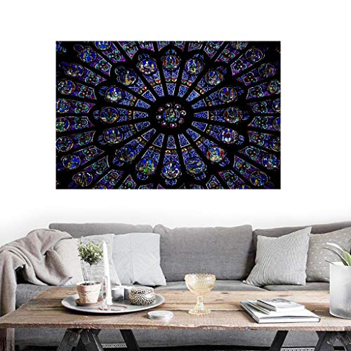 Iusun Notre Dame Cathedral Paris Art Print Poster France Beautiful Photo Art Mural for Bedroom Living Room Restaurant Mall Modern Contemporary Decorative Art Print Sticker -