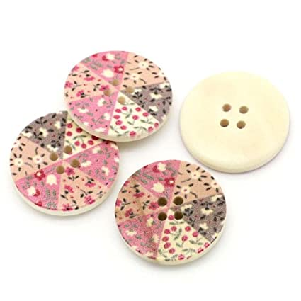 10 WHITE WOODEN HEART MIXED PINK FLOWERS BUTTONS SEWING CRAFT 30mm