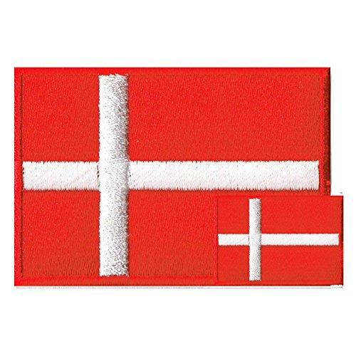 デンマーク国旗 ワッペン エンブレム M+SS ペアセット【アイロン接着】の商品画像