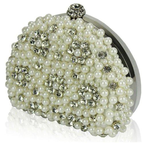 TrendStar Mujeres Perla perlado falso diamante embrague bolsa Bal de Promo de los partes boda de bolso marfil
