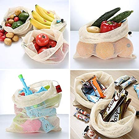 Amazon.com: Bolsas reutilizables de malla de algodón para ...