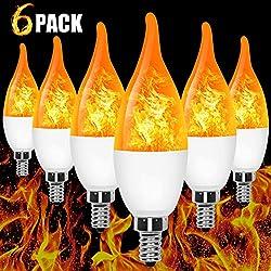 E12 Flame Bulb LED Candelabra Flame Bulbs, 1.2 Watt Blue LED Chandelier Bulbs - Flame Light Bulbs for Festival/Hotel/Bar Party Decoration