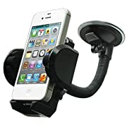 Amazon Lightning Deal 75% claimed: LotFancy Cell Phone Holder - Mobile Phone Car Mount – 360° Rotation Windshield Dashboard Cradle for GPS iPhone 7 7Plus 6 6Plus 5S 5 5C Samsung Galaxy S7 Edge 6S Note 7 5 Smartphones