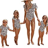 Family Matching Swimsuit Mom and Daughter One Piece Swimwear Bodysuit Off Shoulder Ruffle Bikini Bathing Suit (Mom, M)