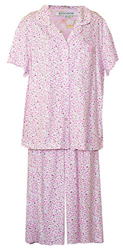 Karen Neuburger Bright Tiny Floral Plus Size Capri Pajamas PJ's (Off White with All-Over Tiny Flowers in Light and Dark Pink-Green Leaves, 1X)