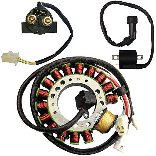 Magneto Stator Starter Relay Ignition Coil for Yamaha Warrior 350 YFM350 2000 2001