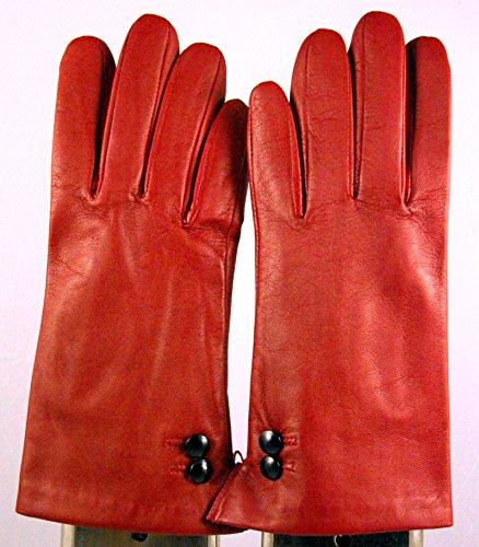 Gant en cuir d'agneau doublé de soie rouge lumineux, avec 2 boutons décoratifs en cuir (noir).