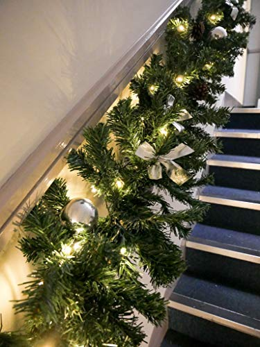 Silver Deluxe X Large Battery Operated Thick 9ft Luxury Pre Lit Decorated Christmas Garland With 50 Warm White Flashing Twinkling Led S Baubles