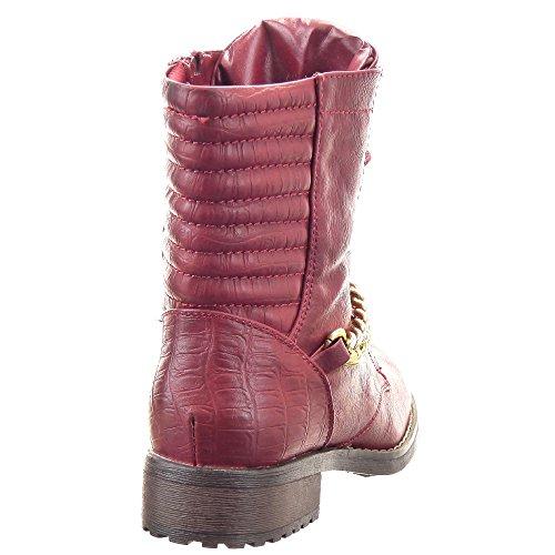 Sopily - Chaussure Mode Bottine Rangers Montante femmes Chaïnes Fermeture Zip Talon bloc 3.5 CM - Intérieur fourrure synthétique - fourrée - Rouge