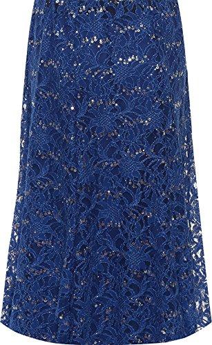 44 Bleu Dentelle Midi vase Paillette Floral Dames Jupe Royal Plus Doubl lastique WEARALL Femmes 58 BwtqOOP