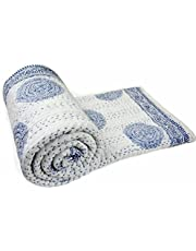 """Hand Made Cotton Indian Kantha Quilted Kantha Quilt Bed Spread Blanket Throw Indian Queen Size White Base Size 90"""" X 108"""""""