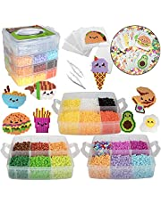 10,000pc Fuse Bead Food Fun Kit - 22 Colors, 12 Unique Templates, 4 Peg Boards, Tweezers, Ironing Paper, Case - Works w Perler Beads, Pixel Art Color by Numbers Project - DIY Gift and Craft