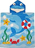 Kreative Kids Dolphin 100% Cotton Poncho Style Hooded Bath & Beach Towel with Colorful Double Sized Design