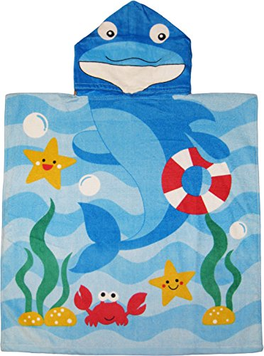 - Kreative Kids Dolphin 100% Cotton Poncho Style Hooded Bath & Beach Towel with Colorful Double Sized Design