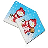 """Custom Made & Disposable {6.5"""" X 6.5"""" Inch} 20 Count of 2 Ply Mid-Size Square Food & Beverage Napkins, Made of Soft Absorbent Paper w/ Snow Storm Snowman Holding Sign """"Merry Christmas"""" {Multicolor}"""