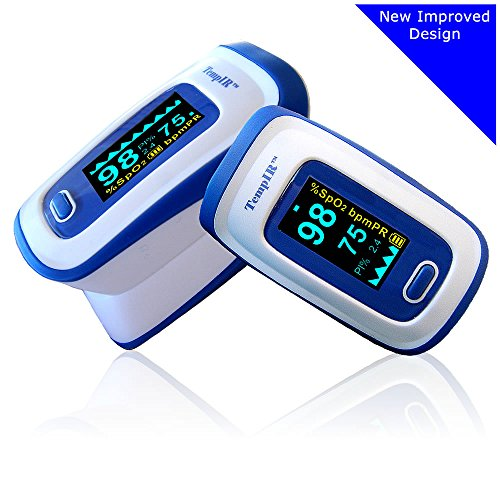 Flow Pediatric Meter (Finger Pulse Oximeter Portable Digital Blood Oxygen and Pulse Sensor Meter with Alarm - SPO2 - For Adults, Children, Sports Use - TempIR for Reliability and Excellent Customer Care)