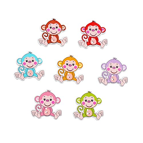 Funnytoday365 Decorative Buttons 50Pcs Cartoon Monkey Shaped 2 Holes Wooden Buttons Fit Sewing DIY Scrapbooking Random - Button Monkey