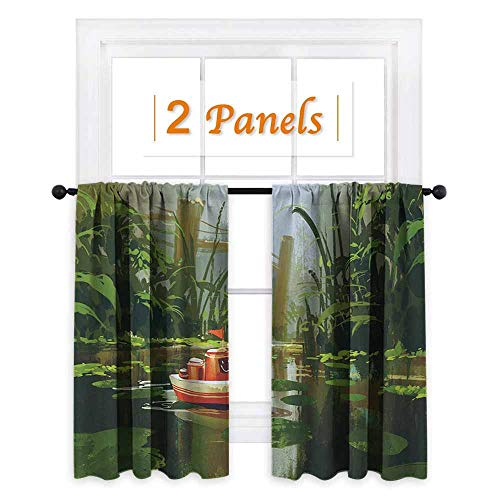 (Fantasy, Room Darkening Wide Curtains, Toy Boat with Smile Face Robot Sailing on River Forest Cartoon Inspired Kid Friendly, for Doors with Windows (W63 x L72 Inch) Red Green)