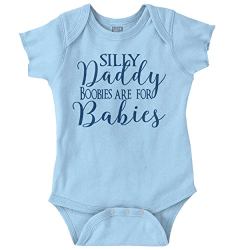 Silly Daddy Boobies for Babies Crude Humor Romper Bodysuit Light -