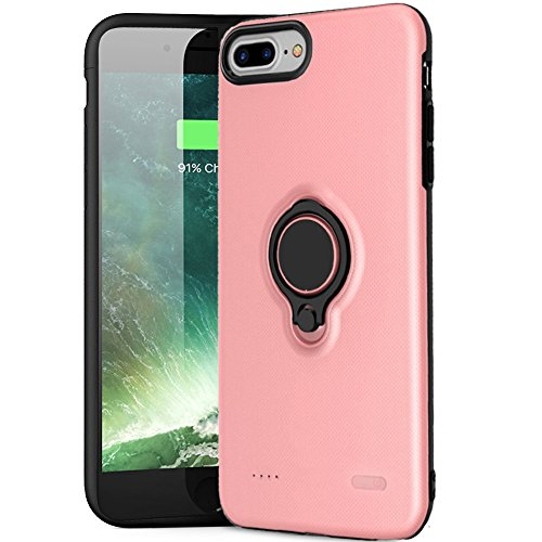 iPhone 8 Plus Battery Case - iPhone 7 Plus Battery Case, Hathcack Super Capacity[7200 mAh] Extended Battery Charger Case Rechargeable Power Bank for iPhone 8 Plus 7 Plus 6 Plus (Pink)