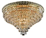 Cheap Elegant Lighting 2526F20G/RC Tranquil 16-Inch High 10-Light Flush Mount, Gold Finish with Crystal (Clear) Royal Cut RC Crystal