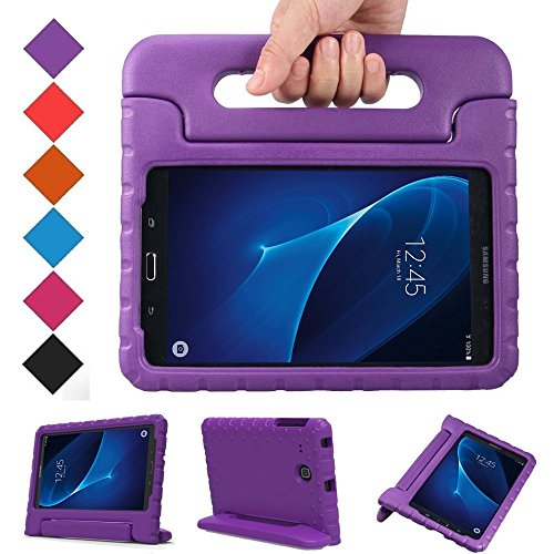 BMOUO Kids Case for Samsung Galaxy Tab A 7.0 - EVA ShockProof Case Light Weight Kids Case Super Protection Cover Handle Stand Case for Kids Children for Samsung Galaxy Tab - Case Tablet Purple 7 Inch