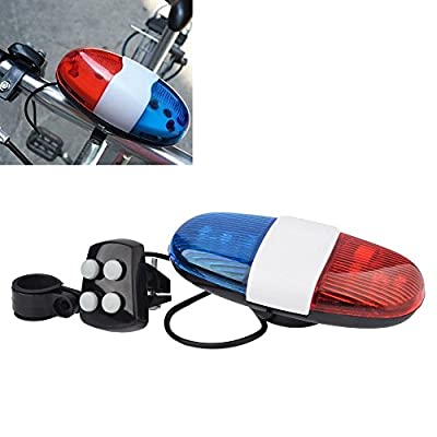 New Bicycle Accessories 6LED 4Tone Sounds Bicycle Bell Bike Bell PoliceCar Light Electronic Horn Siren for Kid's Bicycle/Scooter