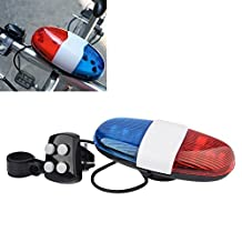 New Bicycle Accessories 6LED 4Tone Sounds Bicycle Bell Bike Bell PoliceCar Light Electronic Horn Siren for Kid's Bicycle/Scooter White