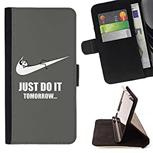 For Samsung Galaxy S6 Edge Plus Funny Do It Tomorrow Sports Style PU Leather Case Wallet Flip Stand Flap Closure Cover