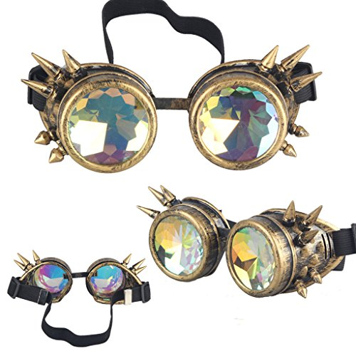 Careonline Steampunk Goggles Welding Cosplay Vintage Spikes Goggles Glasses (colorful - Glasses Minion Case
