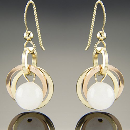 Petite Pale Rose Quartz Earrings with 14K Rose and Yellow Gold Fill Open Circles