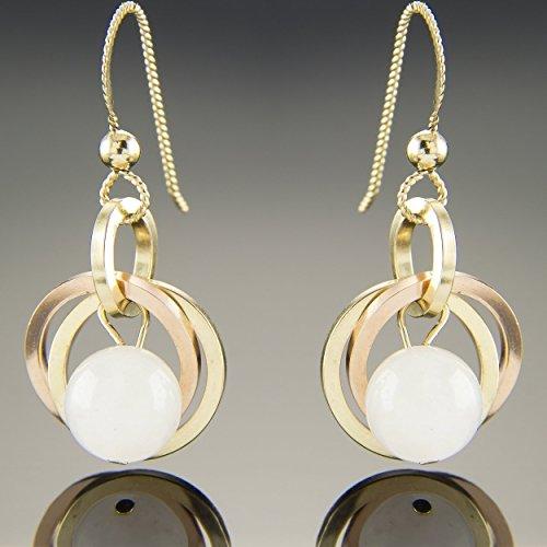 Bead Earrings Rose Quartz (Dainty 14K Rose and Yellow Gold Fill Pink Quartz Gemstone Dangle Earrings)