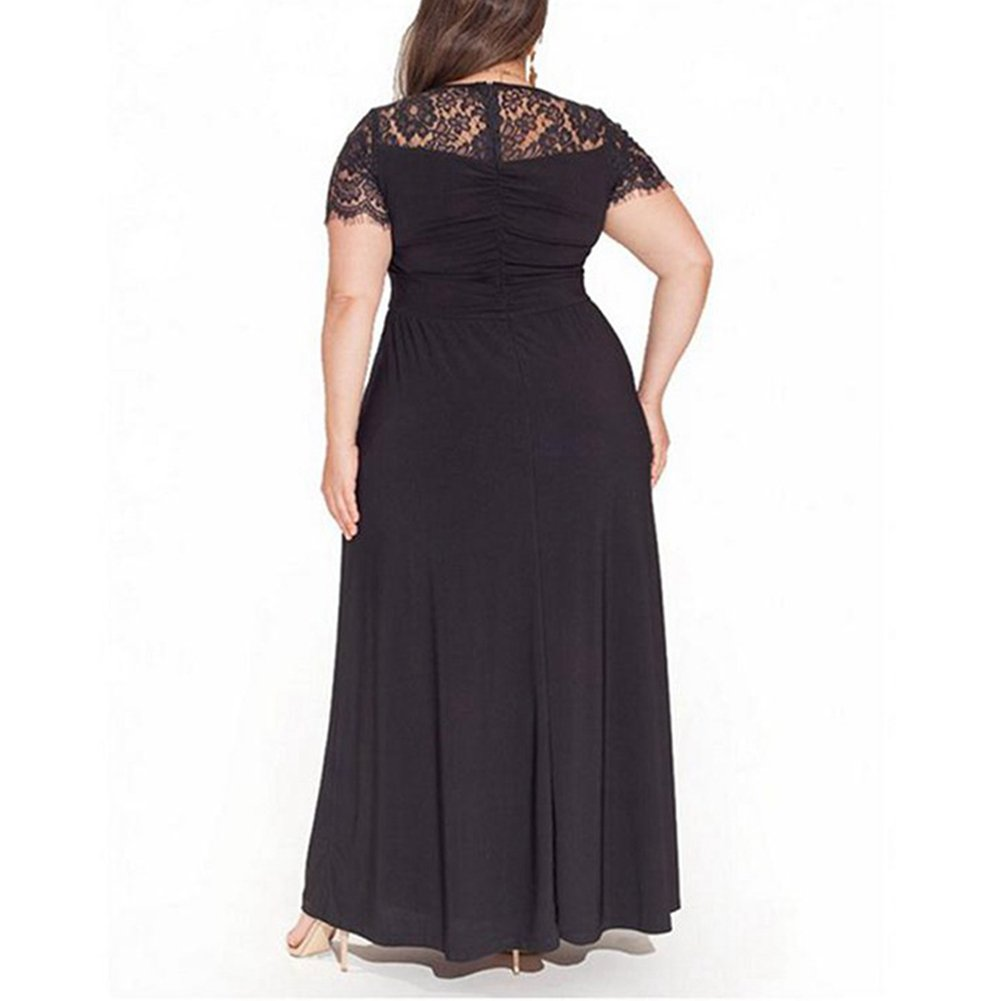 Lover-Beauty Women Plus Size Dress Short Sleeve High Waist Evening Party Dresses: Amazon.co.uk: Clothing