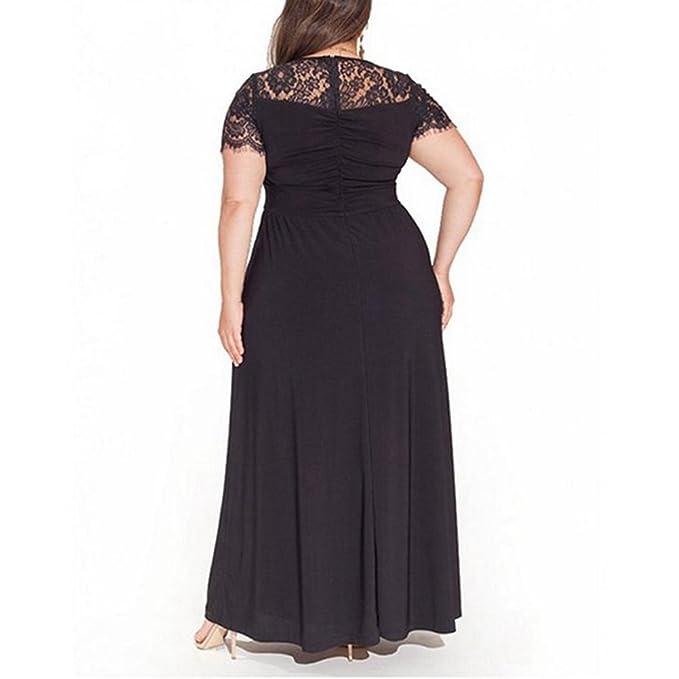 3f97f4cee6 FeelinGirl Mujer Vestido de Noche Encaje Largo Traje Talla Extra Grande  Negro XXL  Amazon.es  Ropa y accesorios