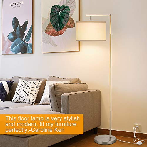 LED Floor Lamp, Montage Modern Floor Lamp, Classic Standing Lamp Reading Standing Light with Hanging Lamp Shade Minimalist Bedside Floor Lamp for Bedroom Living Room with LED Bulb - Silver