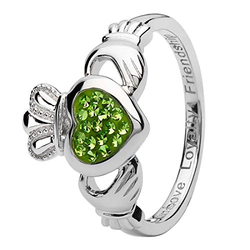 Peridot Crystal Ring Swarovski (Hallmarked Claddagh Silver Ring Encrusted With Peridot Swarovski Crystal)