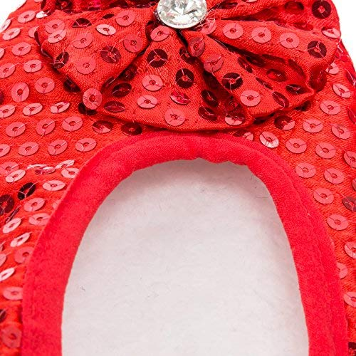 Femmes Antidérapantes Sequins Chaussons Red Fuzzy Footies Pour Rouge 74xZwxBPq