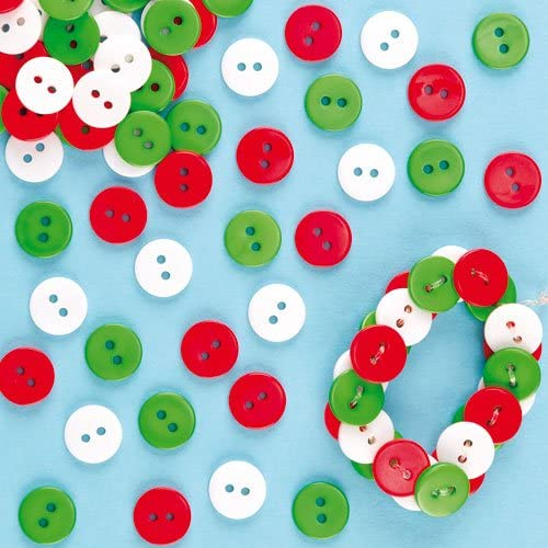 White /& Green Mini Buttons Pack of 250 Red