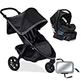 Britax B-Free / B-Safe 35 Infant Baby Stroller Travel System - Pewter / Midnight with Back Seat Mirror