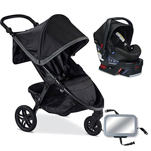 Britax B-Free / B-Safe 35 Infant Baby Stroller Travel System - Pewter / Midnight with Back Seat Mirror by Britax USA